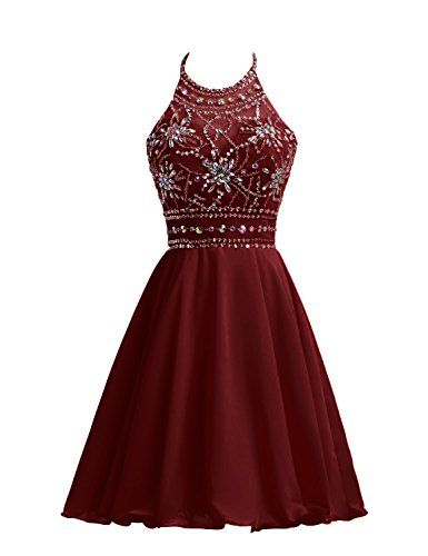 Belle House Women's Short Beaded Prom Dress Halter Homecoming Dress Backless Maroon. Made in China. Chiffon/Backless/Zipper/Padded/Full lined with bone. PLEASE refer to our SIZE CHART on the left picture when you are going to order it. Two Shipping Options(After shippment confirmed) : 1, Expedited Shipping will take 3-4 days to be delivered. 2, Standar will take 12-15 days. Suitable for short prom, homecoming, graduation party and etc.