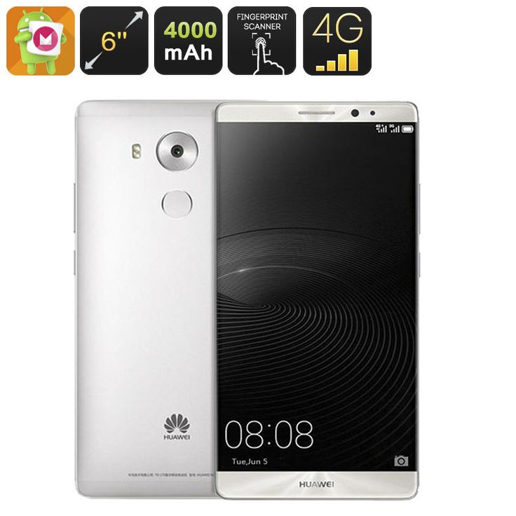 Huawei Mate 8 Smartphone - 6 pollici, Android 6.0, 4G, 3G RAM, 32G ROM, Argento