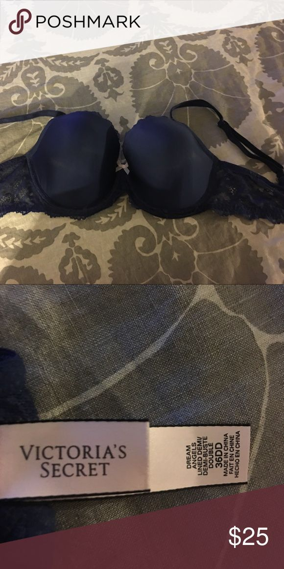 Victoria Secret Blue 36DD Bra with Lace straps Victoria Secret Blue 36DD Bra with Lace straps. Worn only 2ce/clean and in excellent condition. Victoria's Secret Intimates & Sleepwear Bras