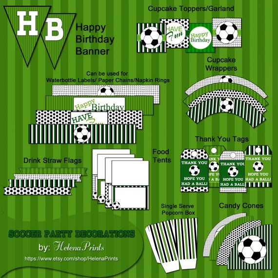 Soccer Party Decorations INSTANTDOWNLOAD Printable by HelenaPrints