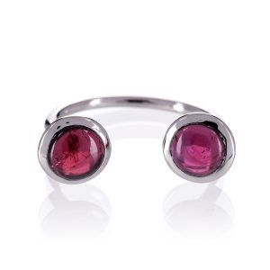 Bronte Sterling Silver Open Double Garnet Ring