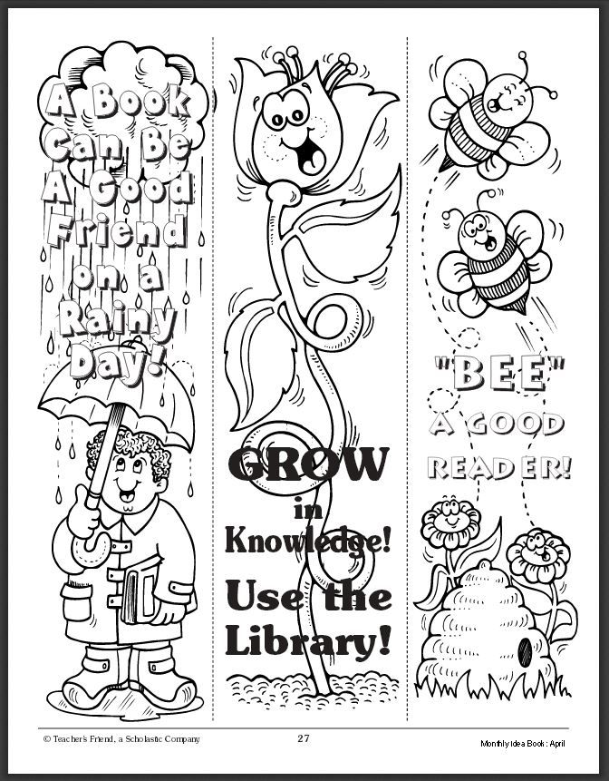 free printable bookmarks to color pdf