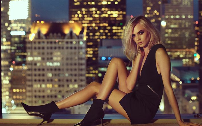 Download wallpapers Cara Delevingne, 2017, Hollywood, beauty, Jimmy Choo, american actress, blonde