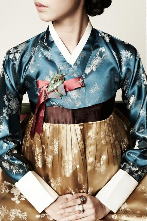 Designed by SUK-HYUN HANBOK  Note to self: love this blue fabric…good for kimono pattern.