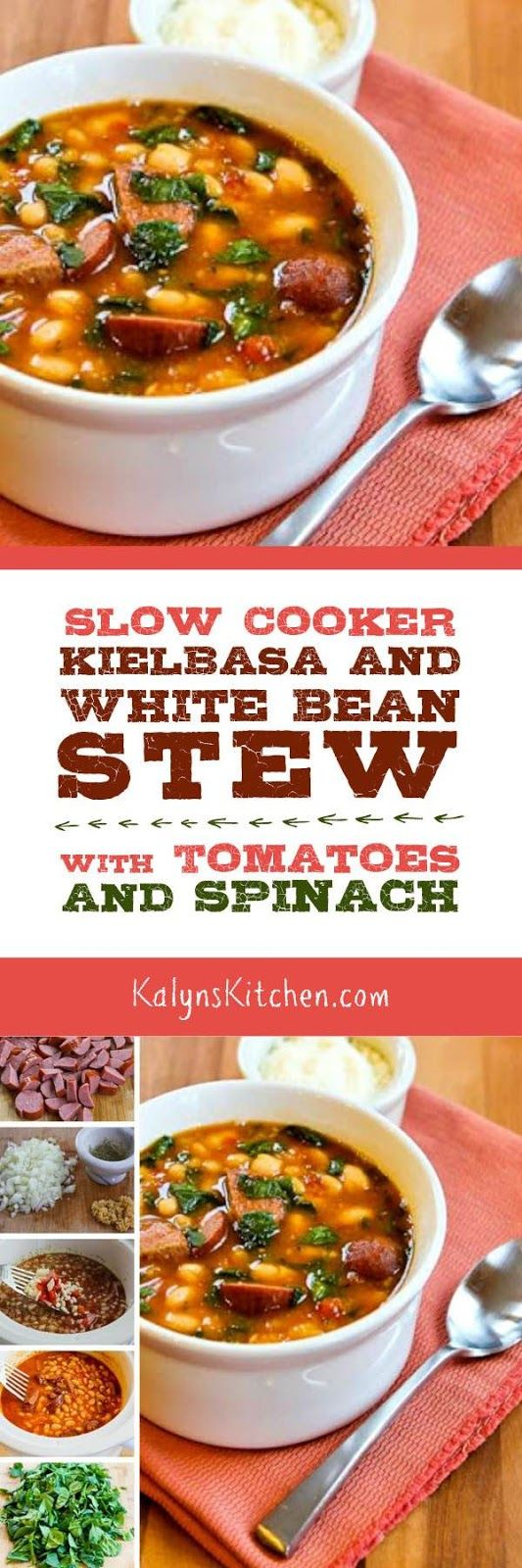 Slow Cooker Kielbasa and White Bean Stew with Tomatoes and Spinach starts with dried white beans that cook all day with the sausage; after work just add the spinach and dinner is ready in a flash. And this tasty soup is low-glycemic, gluten-free, and South Beach Diet friendly, and it freezes well. [found on KalynsKitchen.com] #SlowCooker #Crockpot #SlowCookerRecipe #SlowCookerBeanStew #SlowCookerSausageBeanStew