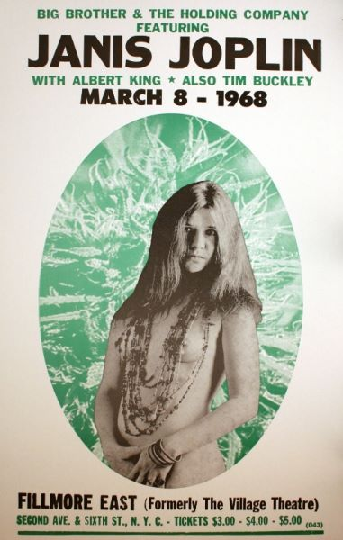 Classic rock concert psychedelic poster - Janis Joplin ~ at the Filmore East 1968