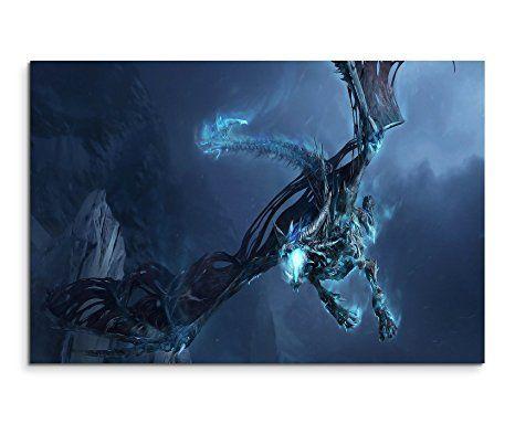 World of Warcraft Ice Dragon Wandbild 120x80cm XXL Bilder und