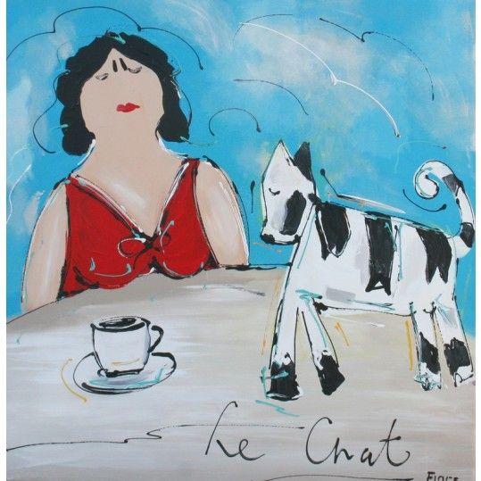 Le chat - de kat, handgeschilderd schilderij van een vrouw en haar kat - Modern interieur schilderij