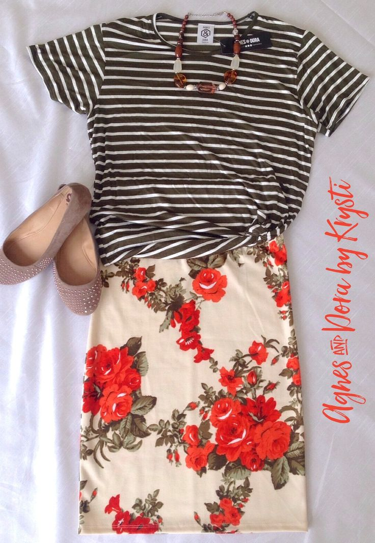 Pattern mixing Floral Pencil Skirt and Striped Tee Olive green and Orange Spring Outfit perfect for any occasion Agnes & Dora