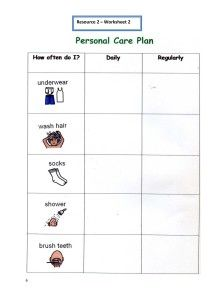 personal hygiene worksheet 2   Personal Hygiene Plan and Worksheets (Personal Care)