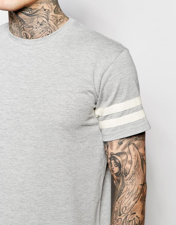 Image 3 of Brooklyn Supply Co T-Shirt Double Stripe Sleeve in Grey Marl