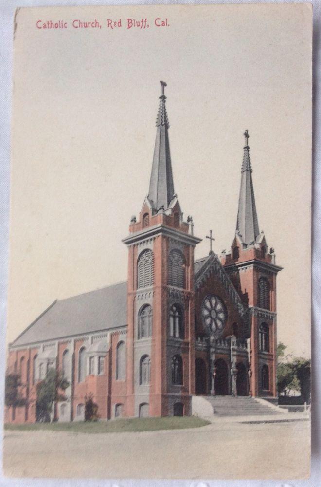 California Map Hwy 99%0A Vintage      Catholic Church  Red Bluff  California Postcard   Geo  C  Salch