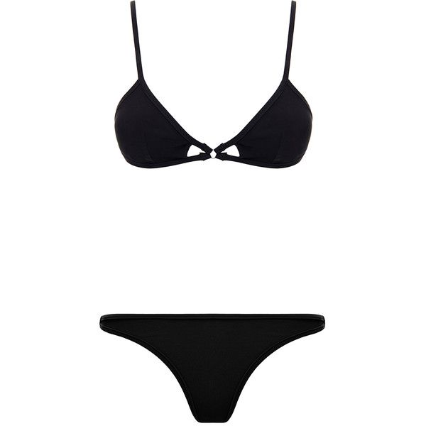Bower Christian Black Bikini Set (145 CAD) ❤ liked on Polyvore featuring swimwear, bikinis, black, tankini tops, black cut out bikini, two piece bikini, black swimsuit top and black bikini bottoms