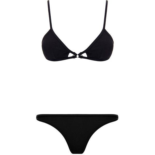 Bower Christian Black Bikini Set ($105) ❤ liked on Polyvore featuring swimwear, bikinis, black, low rise bikini bottom, cut out bikini, cut out bikini top, black cut out bikini and swimsuits tops