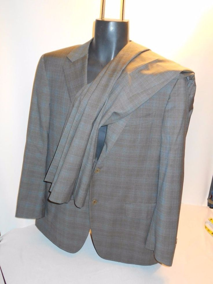 CANALI HARRY ROSEN 48 It US 38 black 3 button suit double vented 33 x 30 pleat #canali #ThreeButton