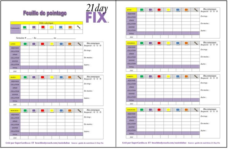 feuille de pointage 21 Day Fix (Tally Sheets)