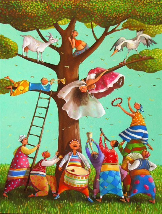 How great is this by Bulgarian painter and illustrator Mariana Kalacheva? It appears to be showing us how to have fun.