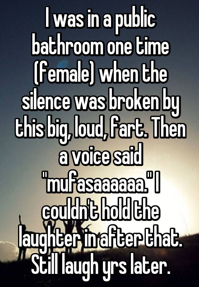 """""""I was in a public bathroom one time (female) when the silence was broken by this big, loud, fart. Then a voice said """"mufasaaaaaa."""" I couldn't hold the laughter in after that. Still laugh yrs later."""""""