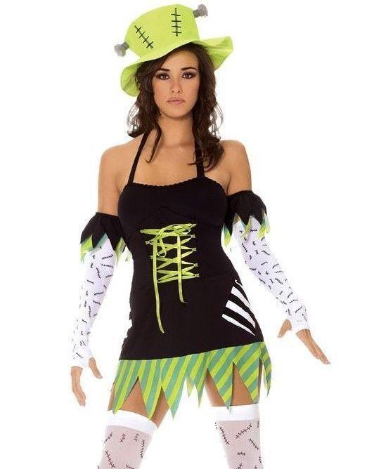 sexy monster halloween costume xs m women 5pc adult frankenstein green dress - Green Halloween Dress