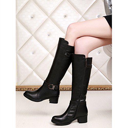 HUSK'SWARE Nero Moda Lunghi Boots/Stivali Donna Invernali In Vera Pelle Cavaliere stivaletti: Amazon.it: Scarpe e borse