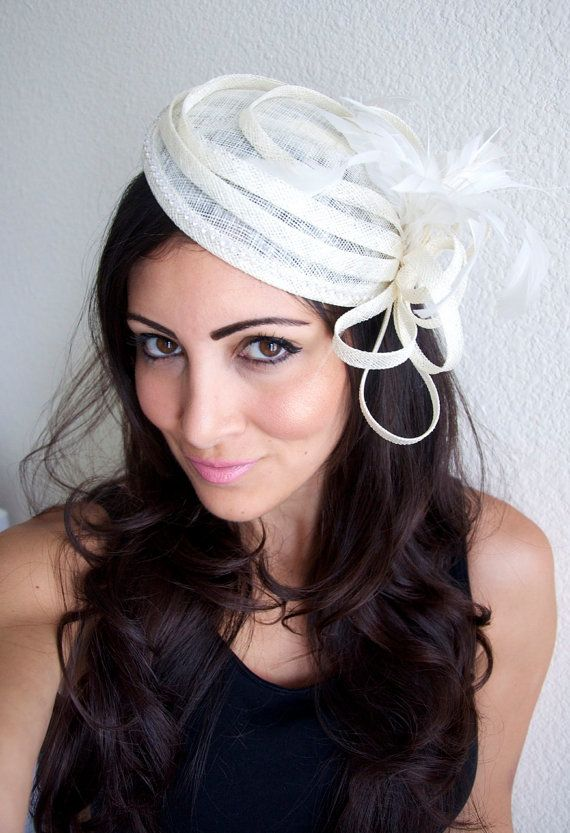 Ivory Fascinator  Daisy Mesh Round Sinamay w/ by EyeHeartMe, $62.00
