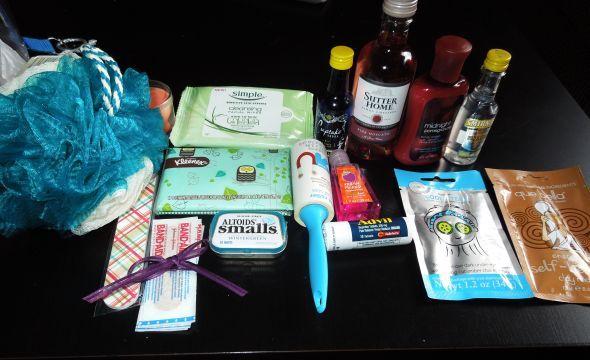 Bridesmaids SURVIVAL kits DIY! (a tad pic heavy) :  wedding bridesmaid gift 1 bridesmaids diy ivory purple survival kit 002