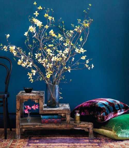 Midnight Tales: Earthborn Designer Breathable Eco Paint #Claypaint #Eco #Breathable #Paint #Colours #buds #vase #decor #blossom #blue