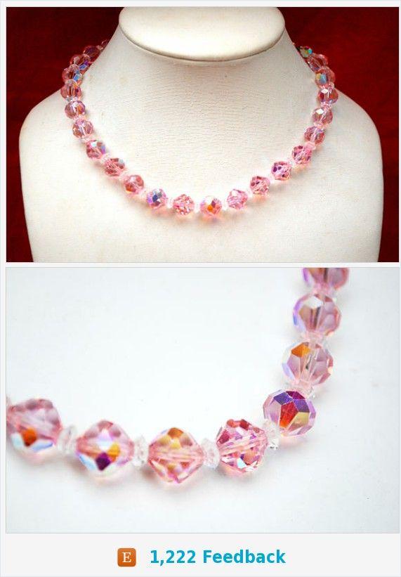 Pink Crystal Bead Necklace - Signed Laguna - Aurora borealis - Facet glass beads - Mid century https://www.etsy.com/serendipitytreasure/listing/575257285/pink-crystal-bead-necklace-signed-laguna?ref=listing_published_alert