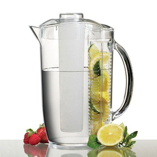 Ice Fruit Pitcher by Prodyne Enterprises. $24.95. Hand wash. Clear durable acrylic construction. Refill without replacing fruit. Prodyne Iced Fruit Infusion Pitcher. Chills without ice dilution. Create your own fruit-infused water at home with this Ice Fruit Pitcher; it delivers 3 quarts of refreshing water by using your own seasonal berries, peaches, lemons and other fruits.