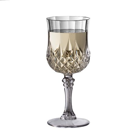 8 oz crystal cut disposable plastic wine glasses