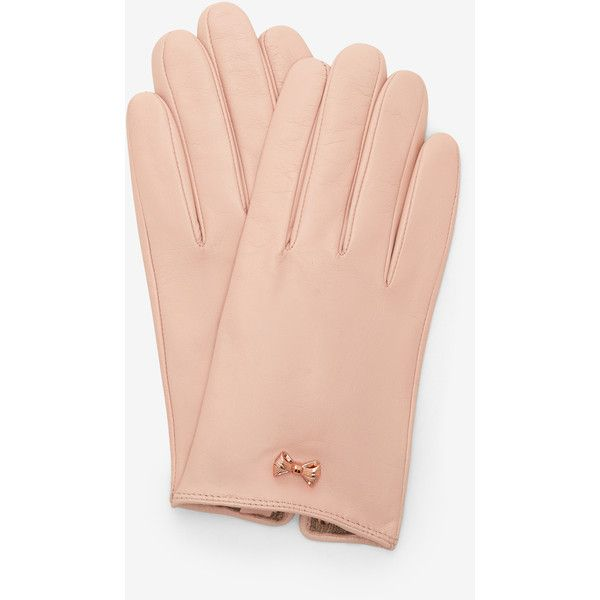 Ted Baker Metallic bow leather gloves (8.645 RUB) ❤ liked on Polyvore featuring accessories, gloves, pale pink, metallic gloves, leather bow gloves, ted baker, bow gloves and leather gloves