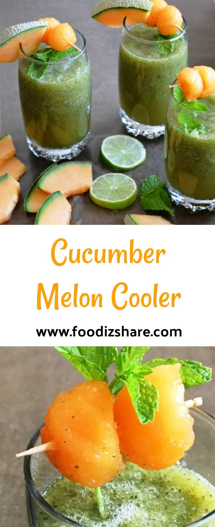 A refreshing, healthy drink made with cucumbers, cantaloupe melon, mint, lime juice. #recipes #easyrecipe #healthy
