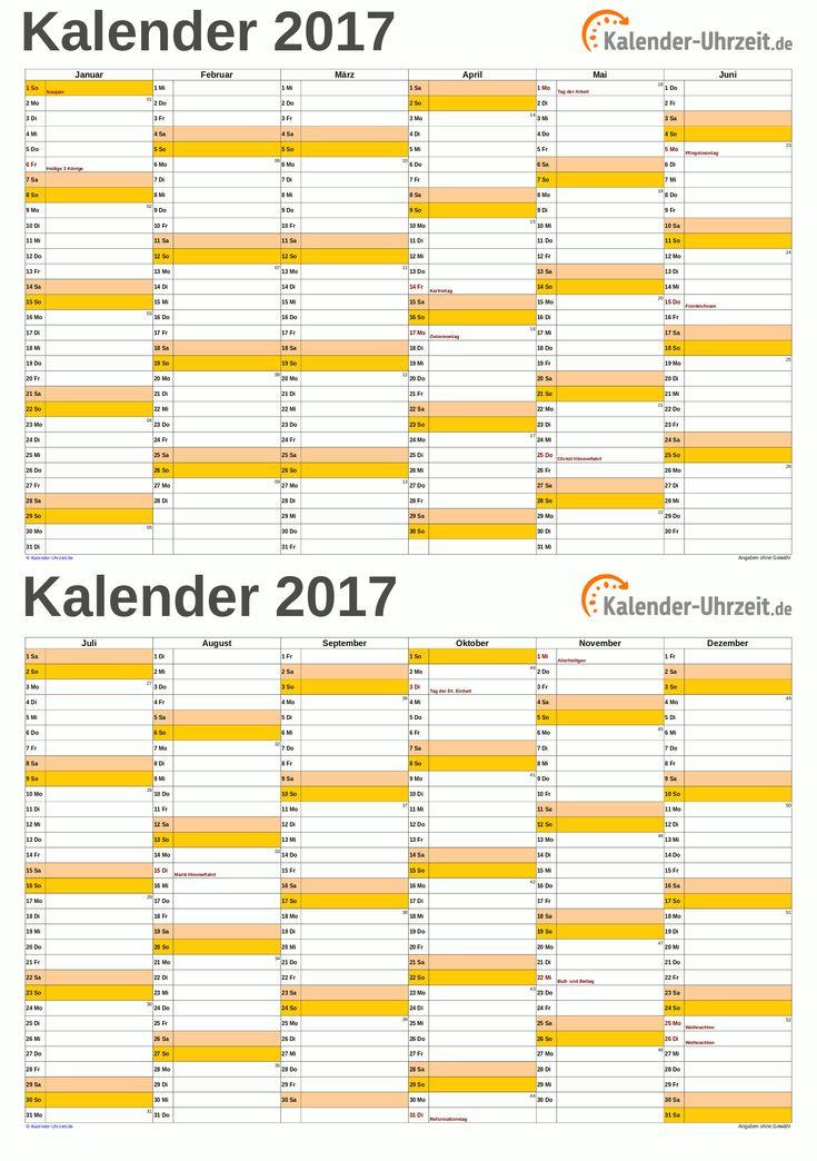 Kalender 2017 A5, PDF-Vorlage