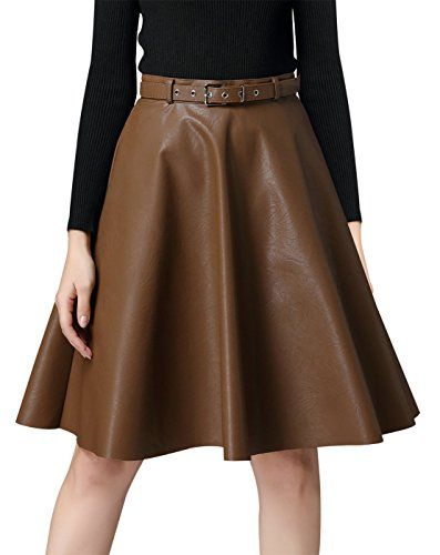 522190ebc63d Niyatree Womens Autumn Winter Vintage High Waist Pleated Aritificial  Leather Flared Aline Midi Skirt Size L Brown >>> Check this awesome product  by going to ...
