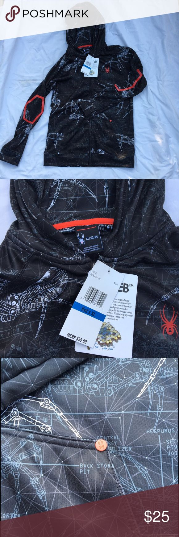 """Boy's Spyder Mechanical Jacket Size XL NWT Dry Web Boy's Spyder jacket with very cool Mechanical design.  Dry Web moisture wicking technology.  Original retail $55.00.  92% polyester, 8% spandex.  Armpit to armpit 20.5"""", Length 27.5"""", Arm 29"""".  Thanks for looking, and happy Poshing!! Spyder Jackets & Coats"""