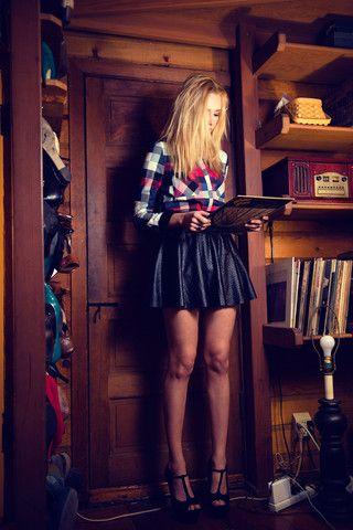 Perforated Vegan Leather Skater Skirt