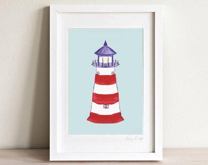Arte de Faro, faro impresión, arte niños playa, guardería náutica, sala infantil náutica, regalo de los niños, arte, a los niños los niños impresiones, enmarcado