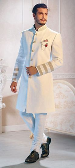 502853: White and Off White color family stitched Sherwani .