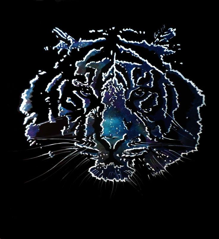 """""""Tigre cósmico"""". Acrílico sobre madera. 90x80 cms. 2017."""
