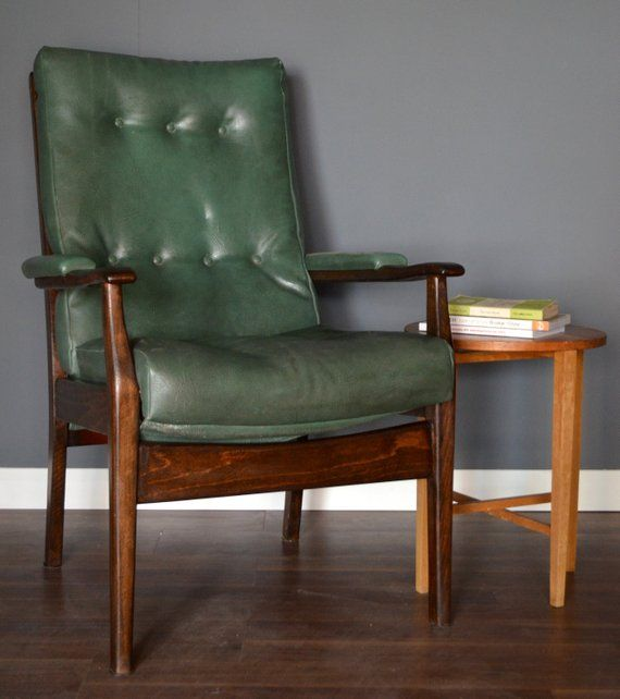 Stylish Vintage Danish Style Walnut And Leather Armchair With