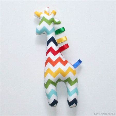 Giraffe Tag Toy Rainbow Chevron