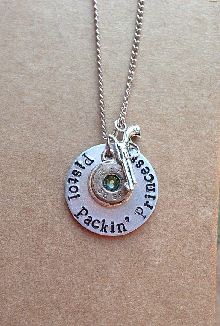Bullet necklace. Hand stamped jewelry. Pistol packin princess. Gun charm. Bullet casing. https://www.facebook.com/calibergirlbulletjewelry