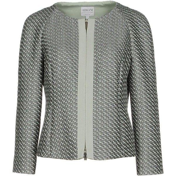 Armani Collezioni Blazer ($620) ❤ liked on Polyvore featuring outerwear, jackets, blazers, grey, tweed jacket, zip jacket, gray jacket, long sleeve jacket and gray tweed blazer