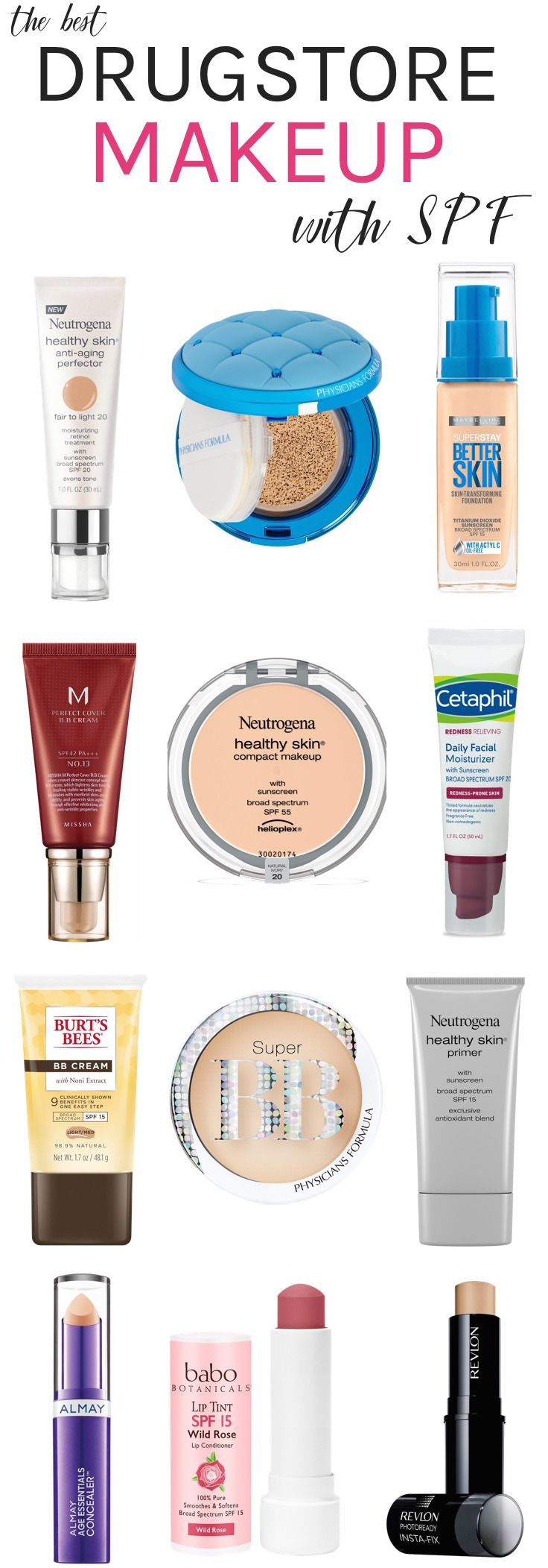 Best Drugstore makeup with SPF | Whether you're trying to hide dark spots or boost a dull complexion, here are 15 multitasking makeup must-haves that beautify your complexion while serving up extra SPF! Click through to see the full list!
