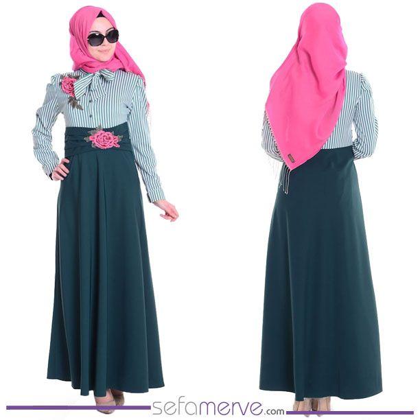 Çizgili Nakışlı Elbise 81106-02 Zümrüt Yeşil  #sefamerve #tesetturgiyim #tesettur #hijab #tesettür