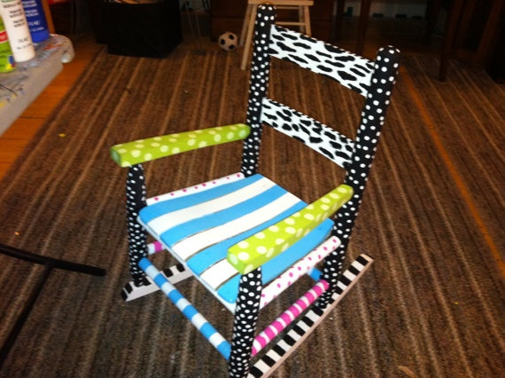 Zebra Print And Polka Dots Kids Hand Painted Rocking Chair