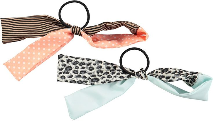 Woven Bow Elastics - Multi Color - randiga och prickiga hårsnoddar med rosetter