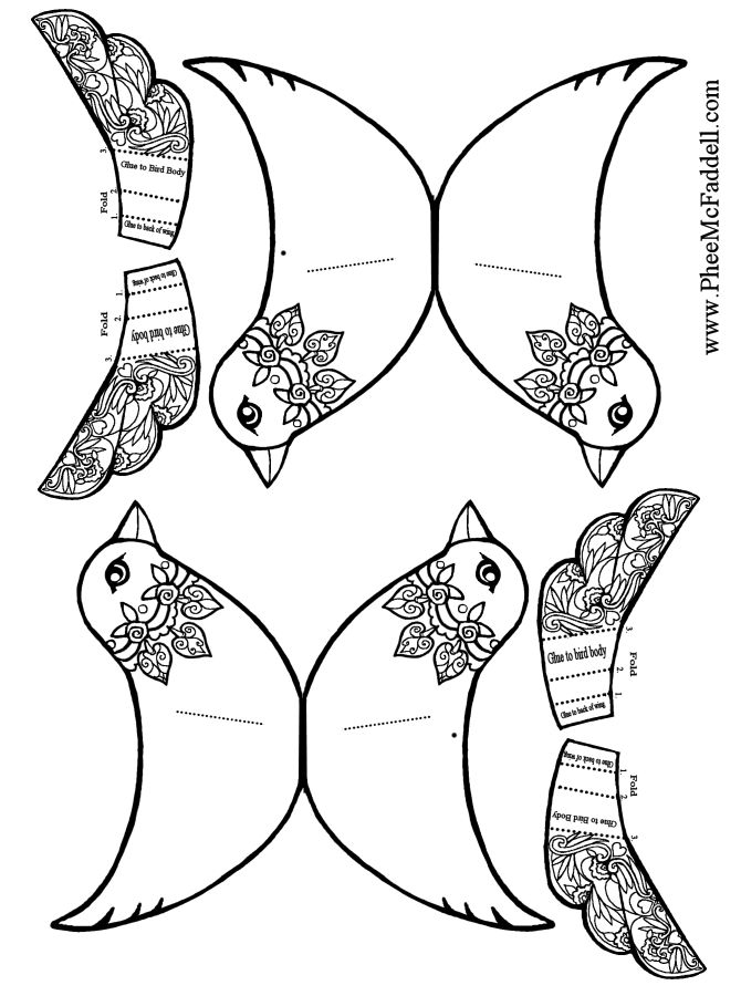 Two Birds And Wings To Attach Black White Color Christmas Coloring Craft Pages