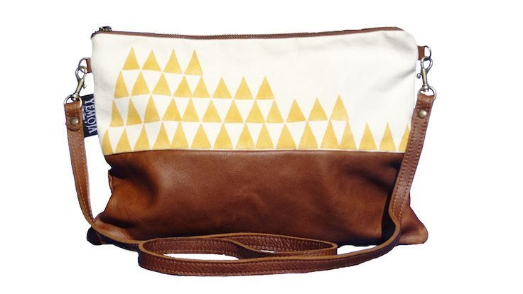mustardtriangle triangle mustard canvas leather brown bovine south africa south african cape town slow fashion handmade handprints handprint handbag clutch bag african waxprint lining colorful