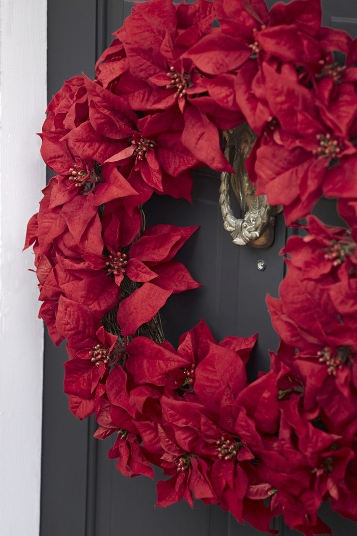 Home gt artificial florals gt holidays gt 60 quot poinsettia amp berry garland - Your Front Door Will Be On Point This Holiday Season With A Vivid Poinsettia Wreath